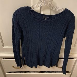 navy blue sweater with zipper up sides